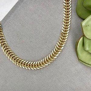 18K Gold Plated Fishbone Choker Necklace